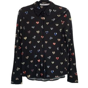 & Other Stories Button Down Heart Print Blouse